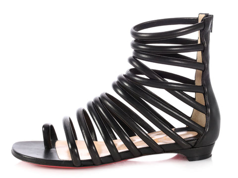 Christian Louboutin Black Catchetta Gladiator Sandals