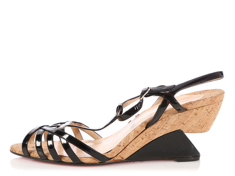 480f7c818ad Christian Louboutin Black Patent and Cork Wedge Sandals