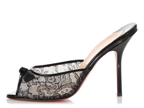 26d225aef9d Christian Louboutin Black Patent and Lace Slides