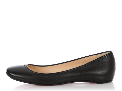 Christian Louboutin Black Leather Ballet Flats