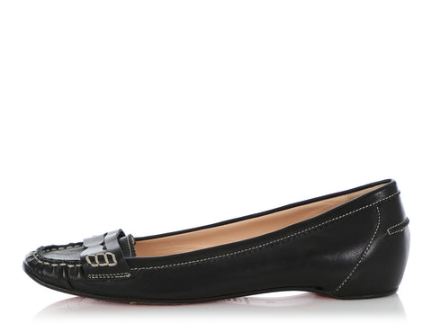 Christian Louboutin Black Penny Girl Loafers