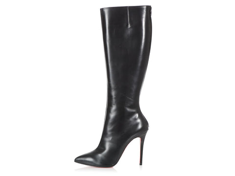 Christian Louboutin Black Leather Knee-High Boots