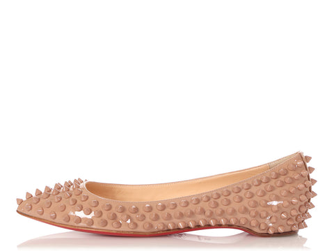 Christian Louboutin Beige Patent Pigalle Spikes Flats