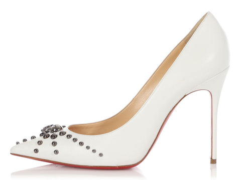 Christian Louboutin White Door Knock 100 Pumps
