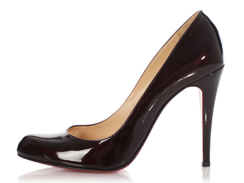 Christian Louboutin Burgundy Patent Simple Pumps