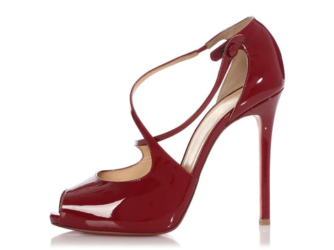 Christian Louboutin Burgundy Patent Strappy Peep-Toe Pumps