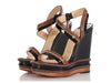 Christian Louboutin Black and Brown Trepi Platform Wedge Sandals
