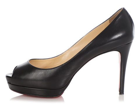 Christian Louboutin Black Platform Peep-Toe Pumps