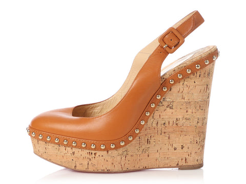 Christian Louboutin Brown Cork Studded Slingback Wedges