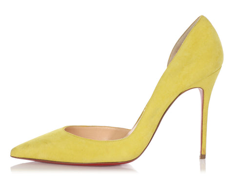Christian Louboutin Yellow Suede Pumps