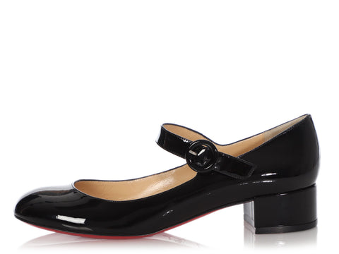 Christian Louboutin Black Patent Dolly Birdy Mary Janes