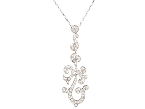 Luca Carati 18K White Gold Diamond Pendant Necklace