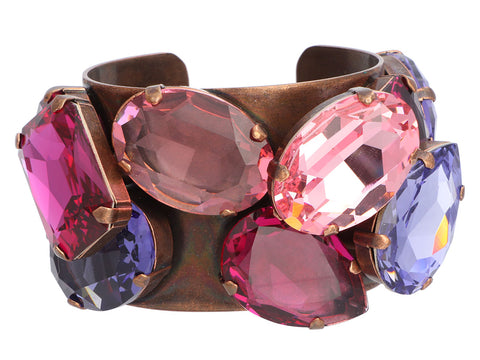 Lanvin Strass Crystal and Brass Cuff