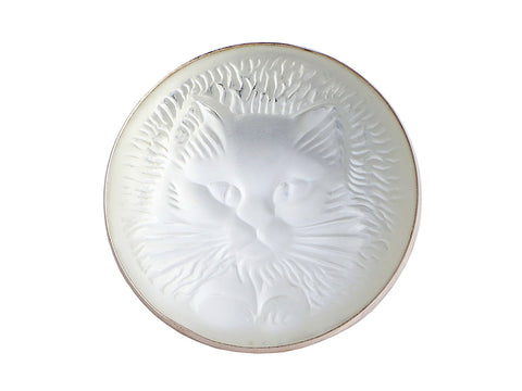 Lalique Frosted Crystal Cat Brooch