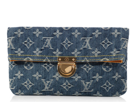 Louis Vuitton Denim Pochette Plat Clutch