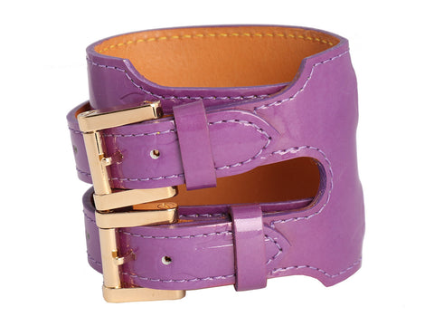 Louis Vuitton Purple Vernis Leather Double Buckle Bracelet