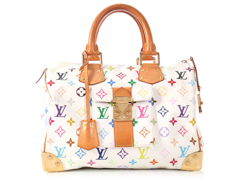 Louis Vuitton White Multicolor Speedy 30