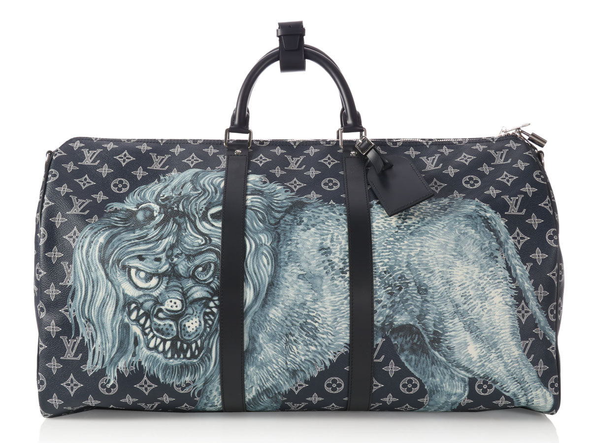 Louis Vuitton Limited Edition Chapman Brothers Savane Lion Keepall Bandoulière 55
