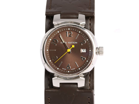 Louis Vuitton Ladies Tambour Brown Monogram Watch 25mm