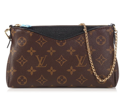 Louis Vuitton Monogram Black Leather Pallas Clutch
