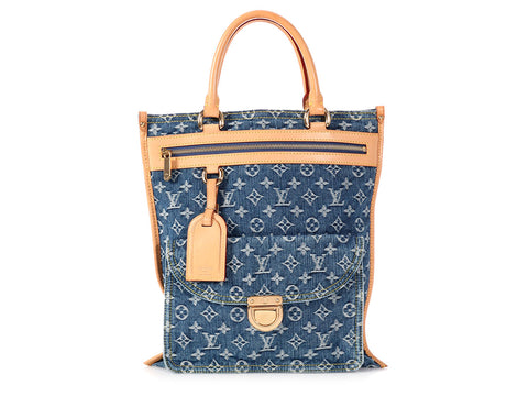 Louis Vuitton Blue Denim Monogram Sac Plat