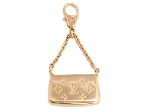 Louis Vuitton Solid 18K Yellow Gold Pochette Charm