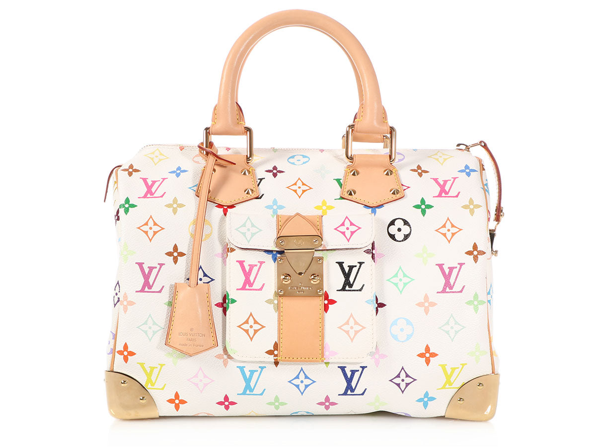 Louis Vuitton White Multicolor Monogram Speedy 30