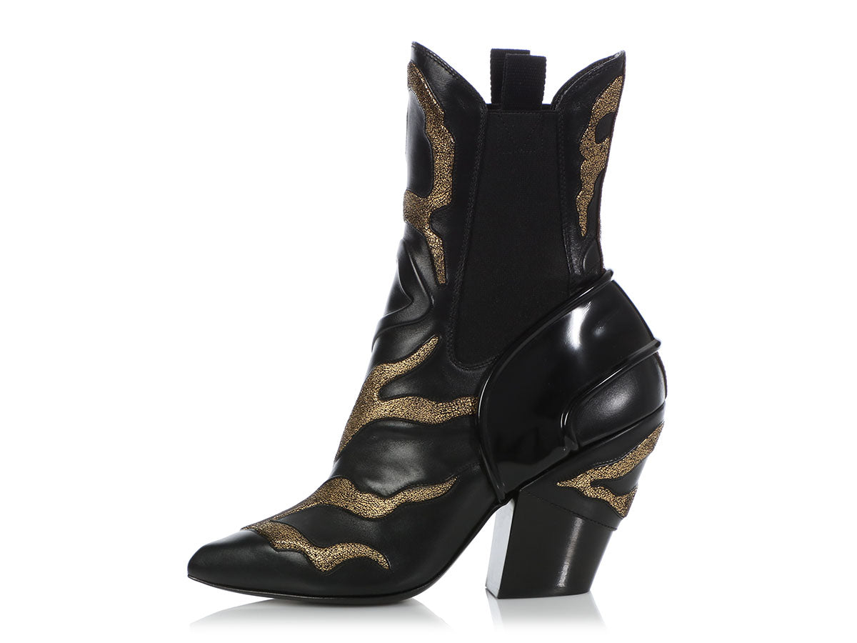 d90ae2c6d65283 Louis Vuitton Black and Gold Fireball Ankle Boots