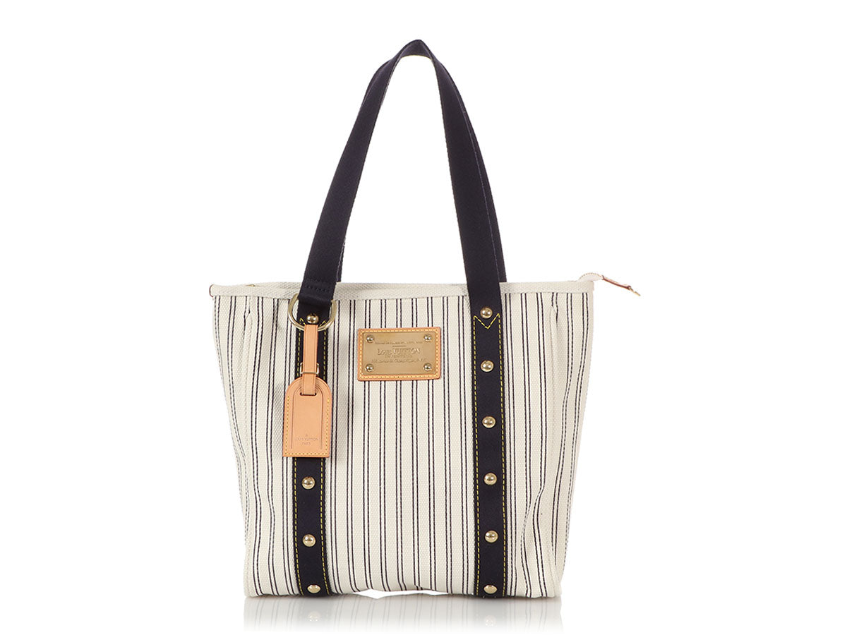 Louis Vuitton Navy Blue Striped Canvas Antigua Cabas MM