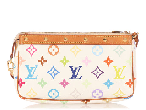 Louis Vuitton White Multicolor Monogram Pochette