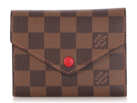 Louis Vuitton Damier Ebène Red Victorine Wallet