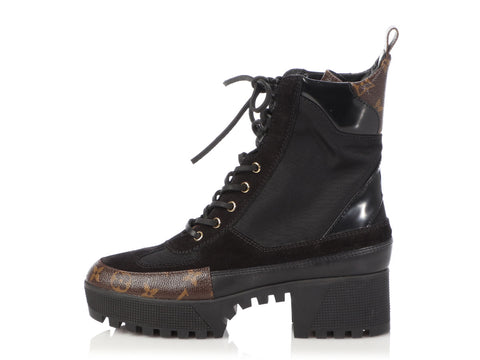 Louis Vuitton Black Laureate Platform Desert Boots