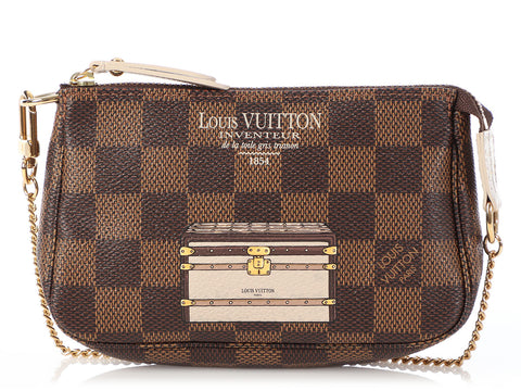 Louis Vuitton Mini Damier Ebène Trunks and Locks Pochette Accessoires