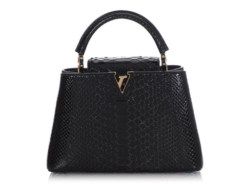 Louis Vuitton Black Python Capucines PM