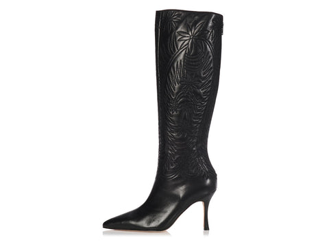 Manolo Blahnik Tall Embroidered Black Leather Boots