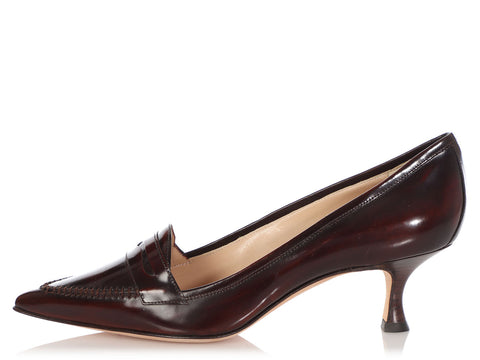 Manolo Blahnik Rusty Bordeaux Loafer Pumps