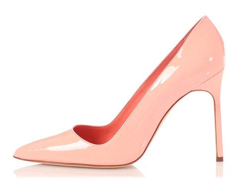 Manolo Blahnik Peach Patent BB 105 Pumps