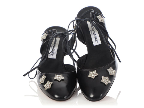 Manolo Blahnik Black Strappy Crystal Star Pumps