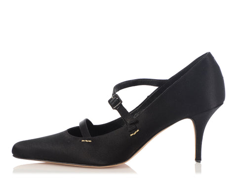 Manolo Blahnik Black Satin Strappy Pumps
