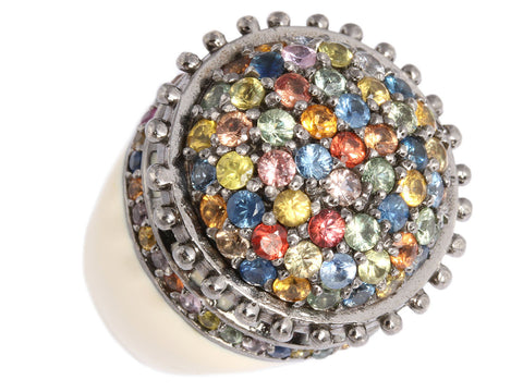 MCL Multicolored Sapphire and Enamel Ring