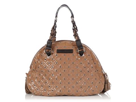 Marc Jacobs Taupe Quilted Patent Dome Bag