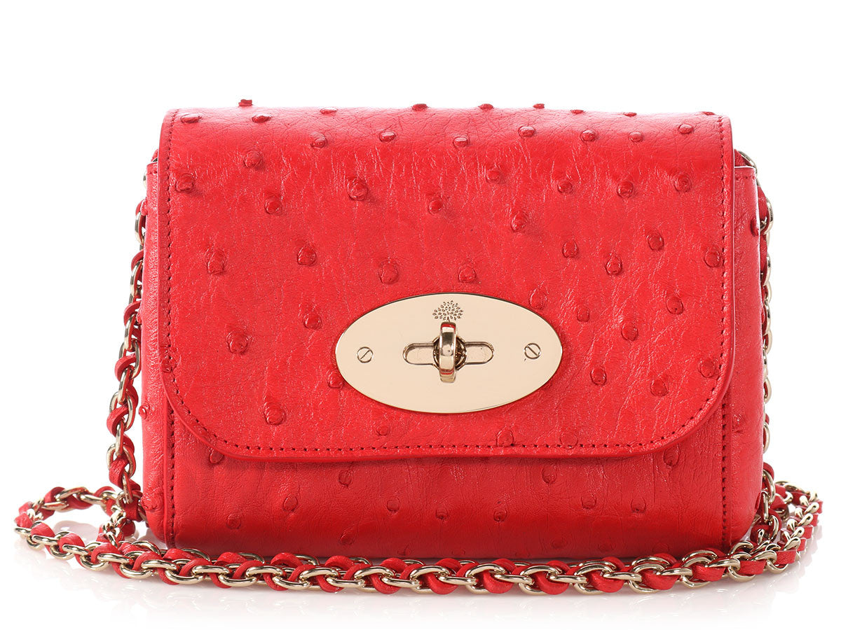 df89ecf10849 Mulberry Red Ostrich Mini Lily Bag