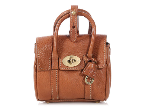 Mulberry Brown Shrunken Bayswater Micro Bag Charm