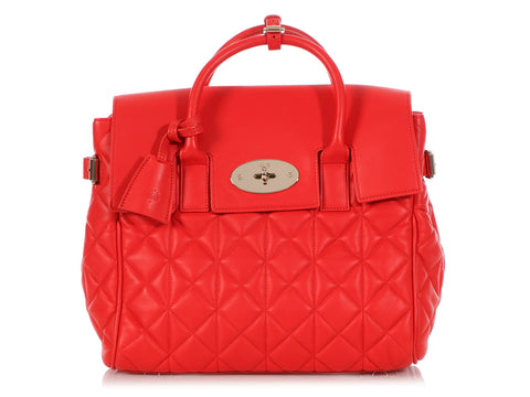 Mulberry Red Cara Delevingne Quilted Convertible Bag