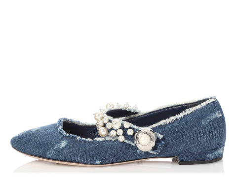 Miu Miu Distressed Denim and Pearl Ballet Flats