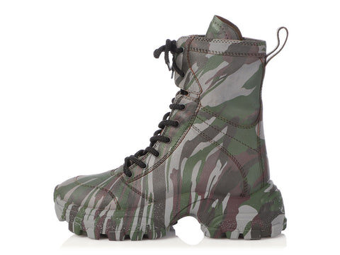 Miu Miu Camo Craquelé Leather Calzature Boots
