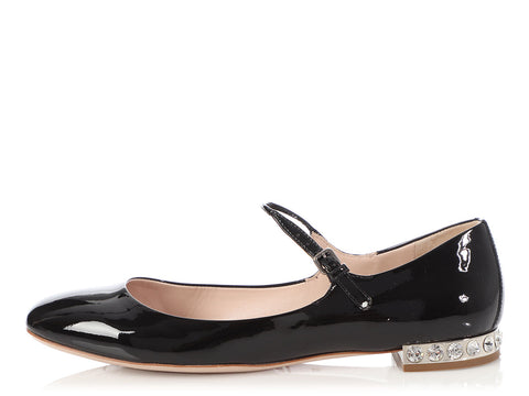 Miu Miu Black Patent and Crystal Heel Mary Janes