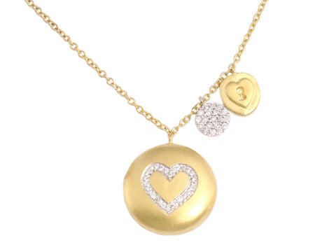Meira T Diamond Heart Charm Necklace