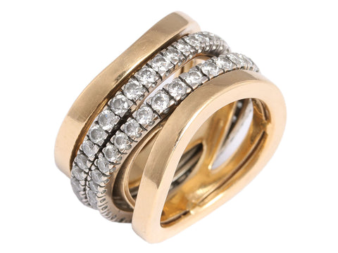 Mattioli 18K Gold Diamond Aspis Ring