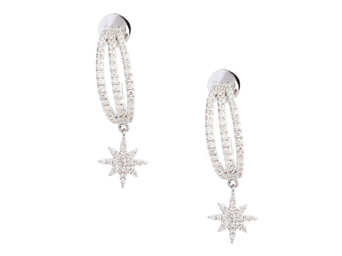 Meira T 14K White Gold Diamond Star Pierced Drop Earrings